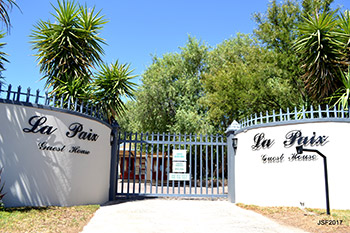 Entrance gates to La Paix Guest House
